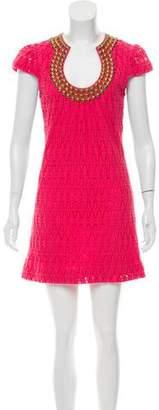 Trina Turk Embellished Crochet Mini Dress