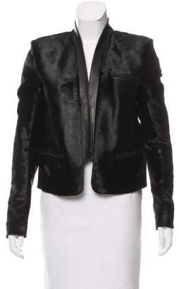 Balmain Leather-Trimmed Ponyhair Jacket