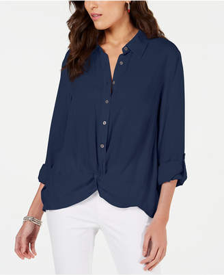 Style&Co. Style & Co Petite Twisted Button Up Shirt