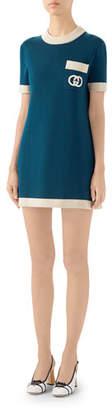 Gucci Fine Wool Short-Sleeve Dress