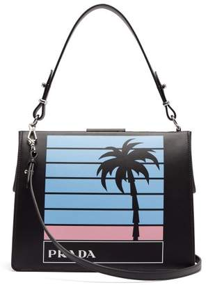 Prada Palm Tree Print Leather Bag - Womens - Black Multi