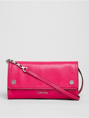 Calvin Klein Calvin Klein Womens Julienne Leather Clutch Bright Rose
