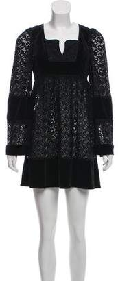 Anna Sui Long-Sleeve Mini Dress