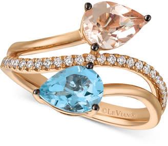 LeVian Le Vian Peach Morganite (3/4 ct. t.w.), Sea Blue Aquamarine (9/10 ct. t.w.) and Vanilla Diamond (1/6 ct. t.w.) Bypass Ring in 14k Rose Gold