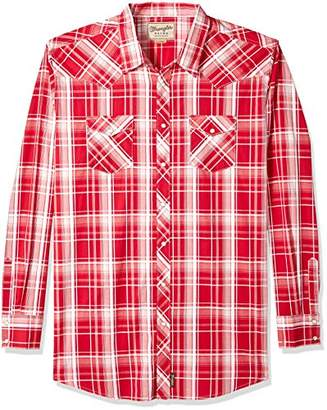 Wrangler Men's Tall Size Retro Long Sleeve Snap Front Plaid Shirt