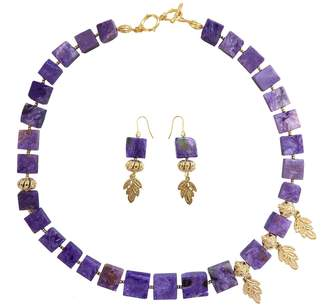 Farra - Natural Charoite Necklace Earrings Gift Set
