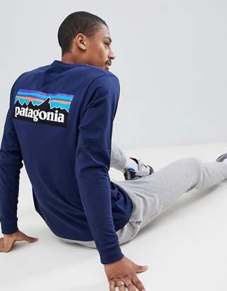 Patagonia P-6 Logo Long Sleeve Responsibili-Tee Top in Navy