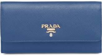 Prada logo plaque credit card wallet