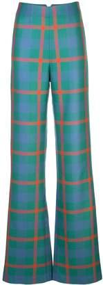 Priscavera flared check pattern trousers