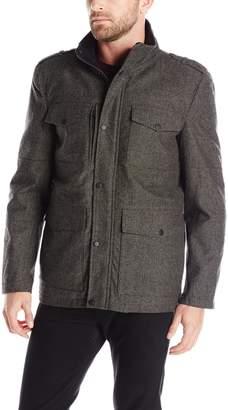 Kenneth Cole Reaction Men's Herringbone Wool Four Pocket Coat