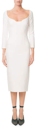 Roland Mouret Ardon Long-Sleeve Viscose Crepe Midi Dress