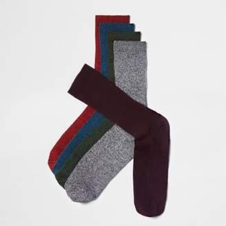 River Island Red twist rib socks multipack