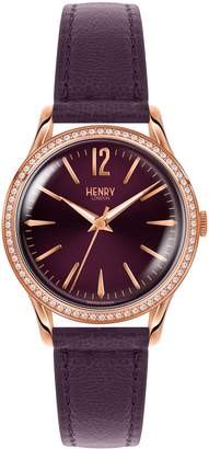Henry London - Ladies 34mm Hampstead Leather Watch With Purple Dial and Stone set Bezel