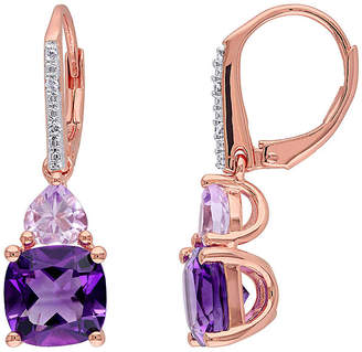 FINE JEWELRY Genuine Amethyst, Rose de France and Diamond-Accent Rose Gold Over Silver Earrings