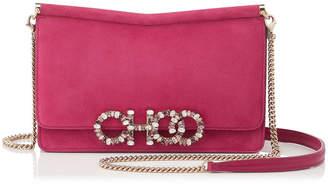 Jimmy Choo SIDNEY/M Raspberry Suede Cross Body Bag with Crystal Logo