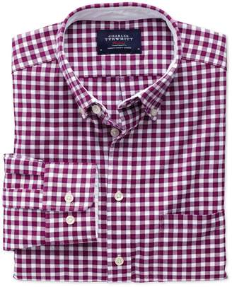 Charles Tyrwhitt Extra Slim Fit Berry Check Washed Oxford Cotton Casual Shirt Single Cuff Size XS