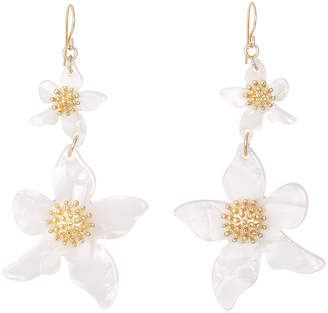 A.V. Max Lucite Double Flower Drop Earrings