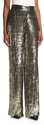 Alice + Olivia Racquel High-Waist Wide-Leg Sequin Pants $550 thestylecure.com