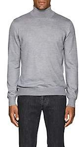 Barneys New York Men's Mélange Wool Turtleneck Sweater-Light Gray