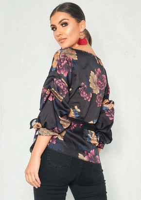 8674680ee0b539 Missy Empire Missyempire Courtney Black Satin Floral Ruched Sleeve Wrap Top