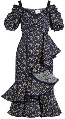 Erdem Kaitlyn Floral Jacquard Open Shoulder Dress - Womens - Navy Print