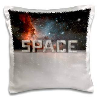 3dRose Space - oversized 3D space text with reflections and starry nebula, Pillow Case, 16 by 16-inch