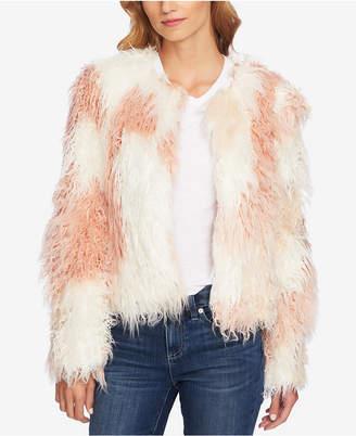 CeCe Two-Tone Shaggy Faux-Fur Jacket