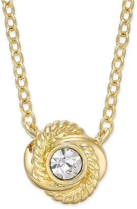 Kate Spade Infinity & Beyond Gold-Tone Crystal Knot Pendant Necklace