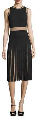 Michael Kors Sleeveless Pleated Dress W/Lace Insets, Black