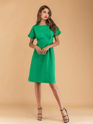 Shein Button Side Zip Back Dress