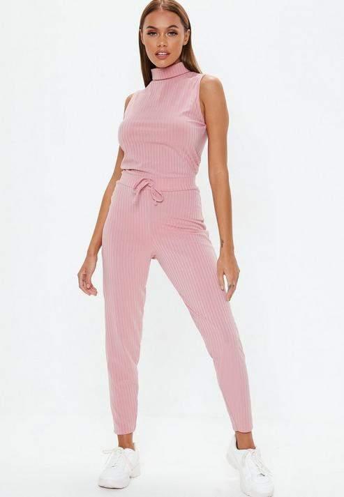 Rose Pink Roll Neck Ribbed Jumpsuit, Rose Pink