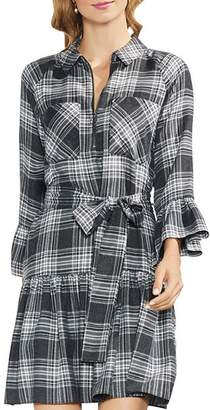 Vince Camuto Plaid Ruffle Shirt Dress