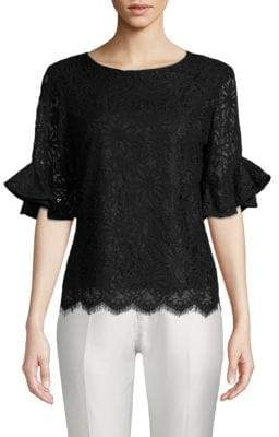 Frill-Sleeve Floral Lace Top