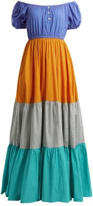 Caroline Constas Panelled Cotton Blend Maxi Dress - Womens - Multi