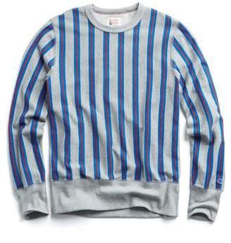 Todd Snyder + Champion Stripe Sweatshirt in Light Grey Mix
