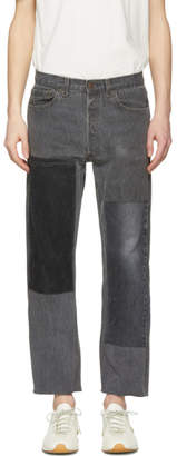 B Sides Black Cropped Large Two-Patch Jeans