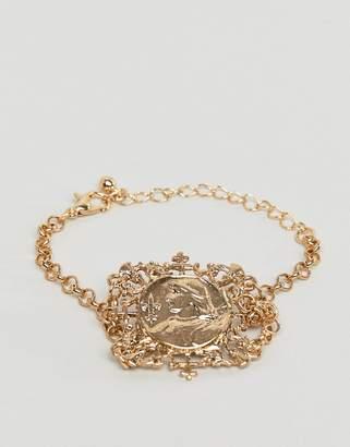 Icon Eyewear Asos Design ASOS DESIGN bracelet with vintage style filigree square pendant in gold