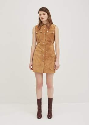 Acne Studios Scala Suede Sleeveless Dress Hazel Brown