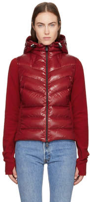Moncler Red Down Hooded Cardigan