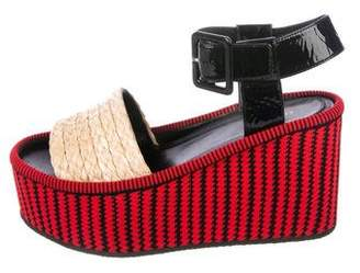 Celine Straw Flatform Sandals