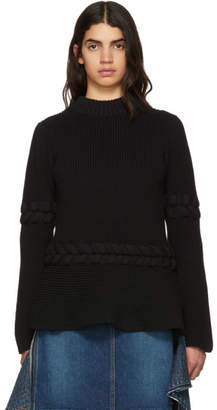 Sacai Black Braided Knit Pullover