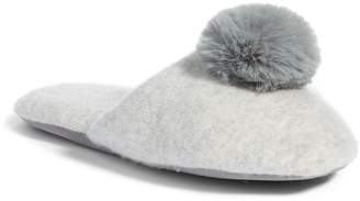 Nordstrom Wool & Cashmere Slippers with Faux Fur Pompom