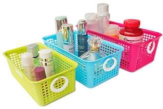 Honla Perforated Plastic Storage Nesting Baskets/Bins Organizer with Little Handles-Set of 3-Hot Pink