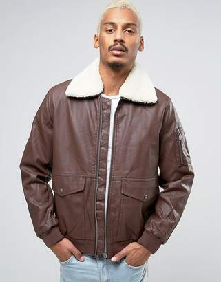 Asos Design Faux Leather Jacket With Borg Collar In Burgundy