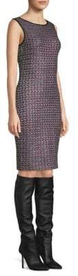 St. John Painterly Tweed Sheath Dress
