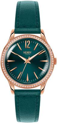 Henry London - Ladies 34mm Stratford Leather Watch With Stone Set Bezel