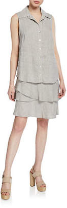 Finley Jasmine Button-Front Sleeveless Tiered Washed Linen Dress