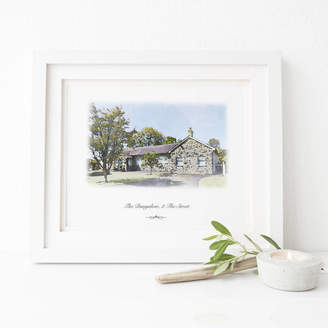 2by2 Creative Personalised House Portrait Digital Watercolour