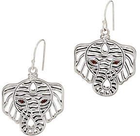 JAI Sterling Silver Figural Elephant Earringsw/Garnet Eyes
