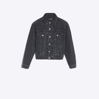"""Balenciaga Classic denim jacket with """"destroyed"""" effect and logo at back"""